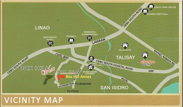 vicinity map of box hill west talisay