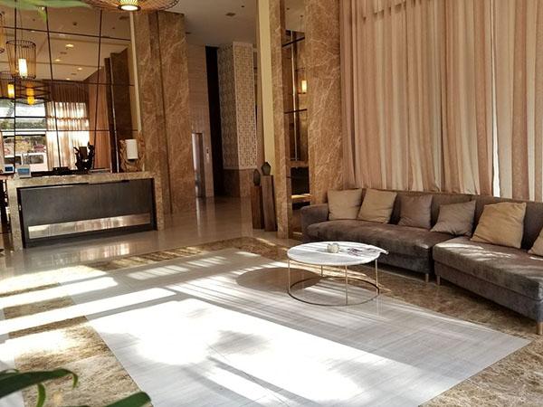 the magnificent lobby in the condominium