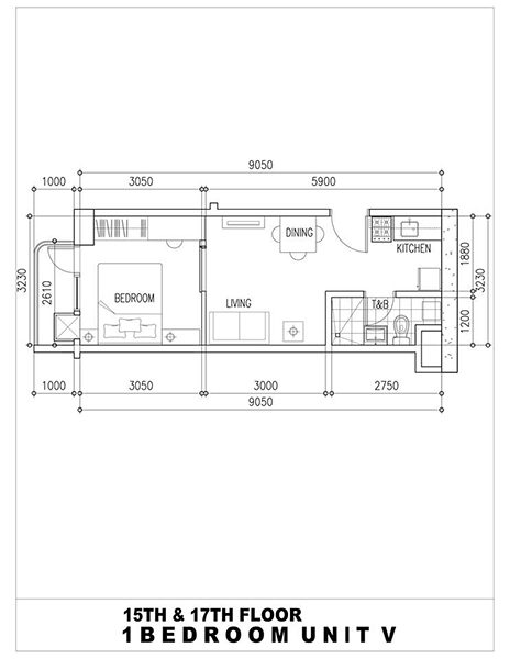 1 bedroom with balcony floor plan