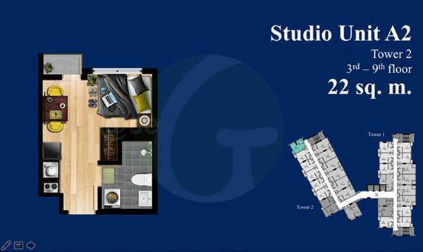 studio floor plan of the condominium