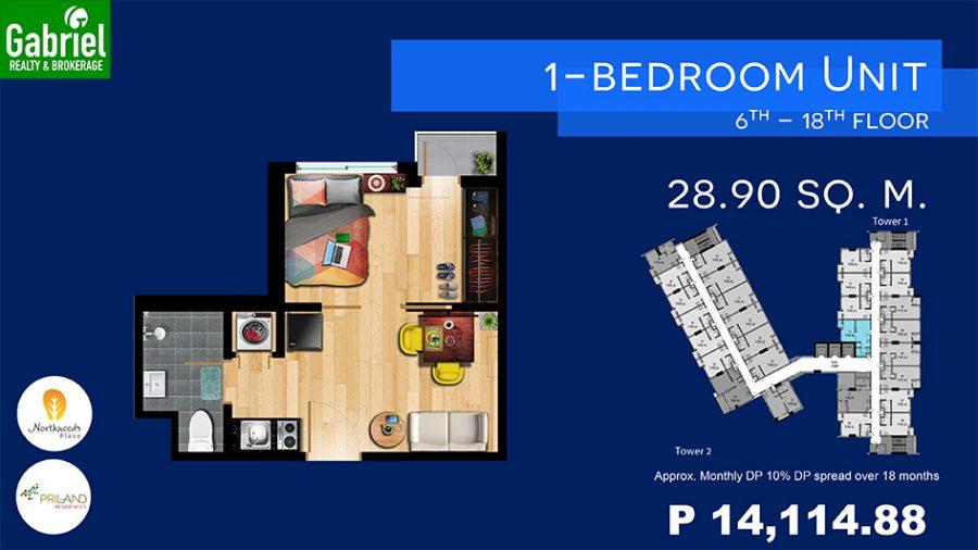1 bedroom floor plan, norhtwoods place