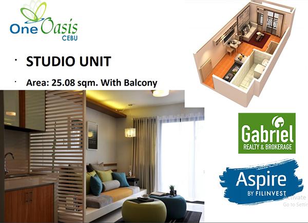 studio with balcony in one oasis cebu concominium