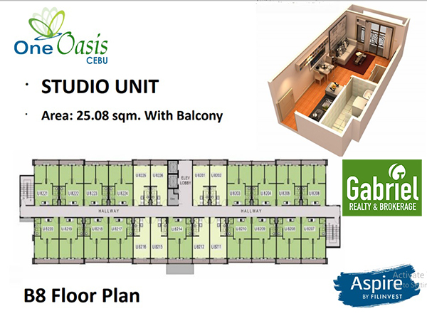 studio with balcony building plan