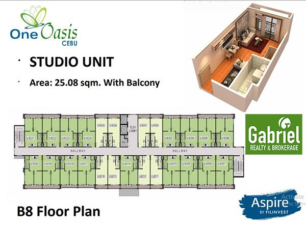 studio with balcony building plan