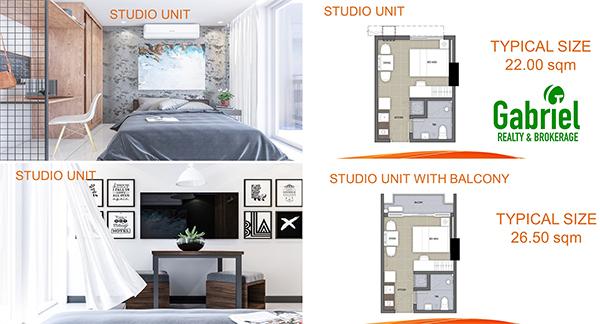 studio with balcony floor plan in west jones residences