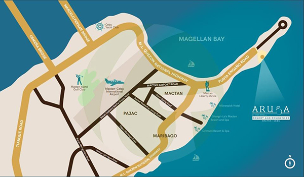 vicinity map of aruga beach resort