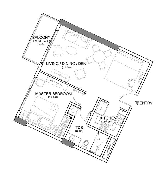 1 bedroom floor plan in rockwell