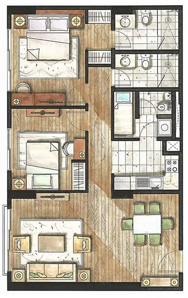 2 bedroom floor plan in rockwell