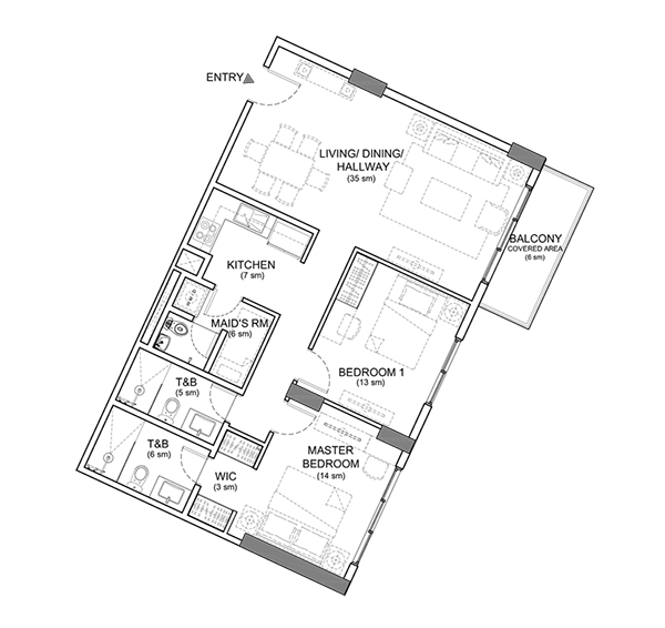 2 bedroom floor plan in lahug condominium