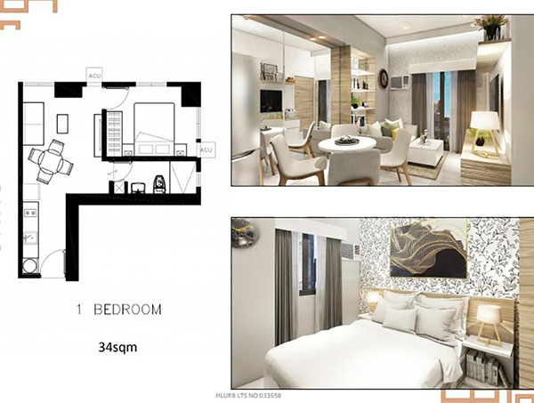 1 bedroom corner unit floor plan