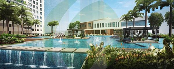 ultra-marine pool splash in solinea condominium