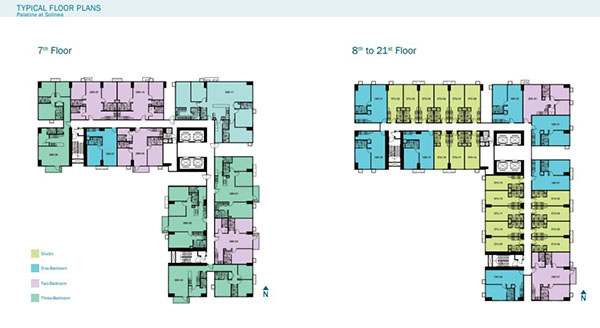 typical floor layout at the 7th to 21st floors