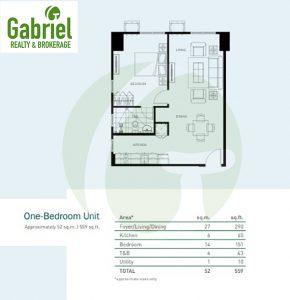1-bedroom floor plan