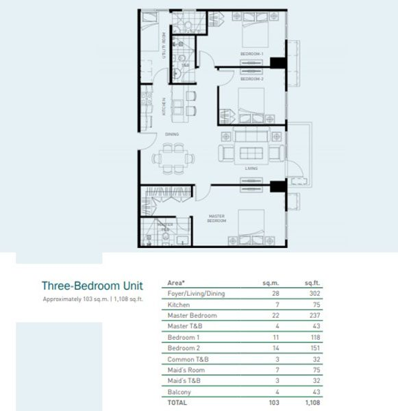 3-bedroom unit floor plan