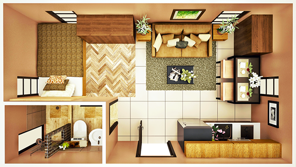 20 sqm Studio A floor plan