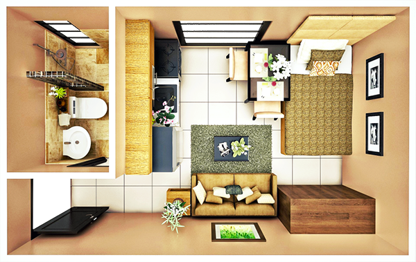 14 sqm STUDIO B floor plan