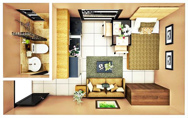 14 sqm STUDIO B floor plan