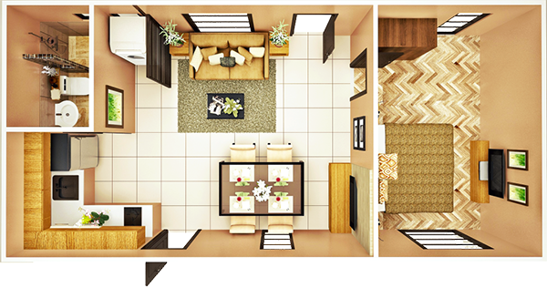 34 sqm 1-BEDROOM A floor plan