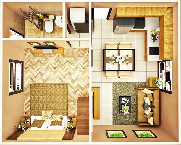 29 sqm 1 Bedroom floor plan
