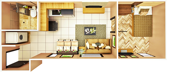 26 sqm 1  bedroom C floor plan
