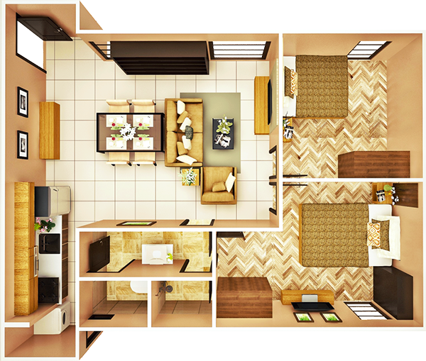 23 sqm 2-BEDROOM A unit floor plan