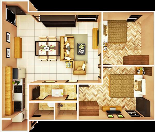 23 sqm 2-BEDROOM A unit floor plan