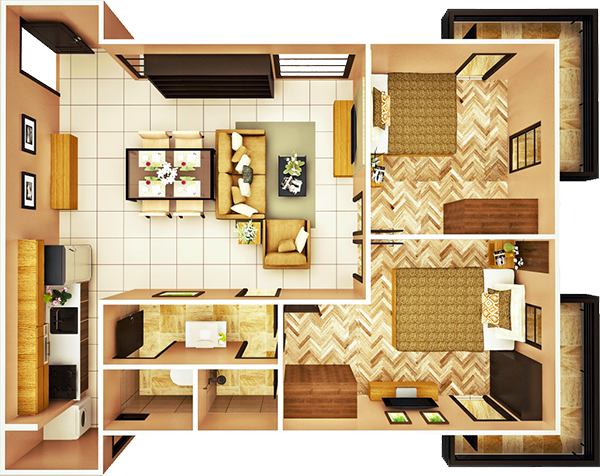 29 sqm 2-BEDROOM B unit floor plan