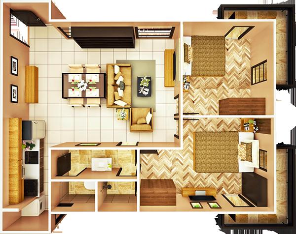29 sqm 2-BEDROOM B unit floor plan