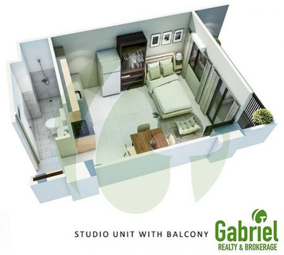 studio with balcony floor lay out