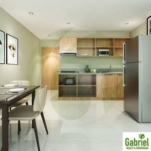 unit features like cabinets, kitchen and the furniture