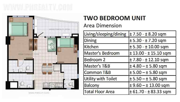 2-bedroom floor plan and area dimension