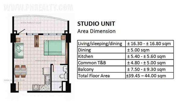 studio floor plan and area dimension