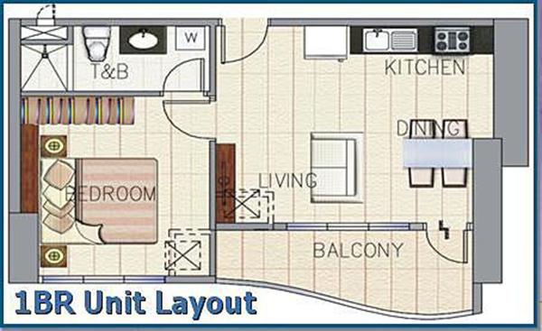 1 bedroom unit layout