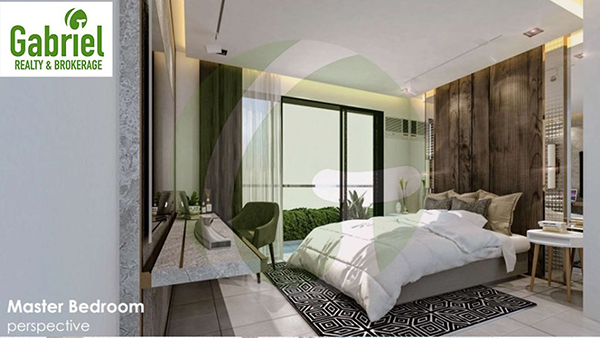 2-Bedroom condominium lay out with bed, tables and chairs