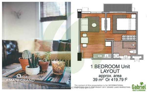 39 sqm 1-BEDROOM w/ BALCONY floor plan