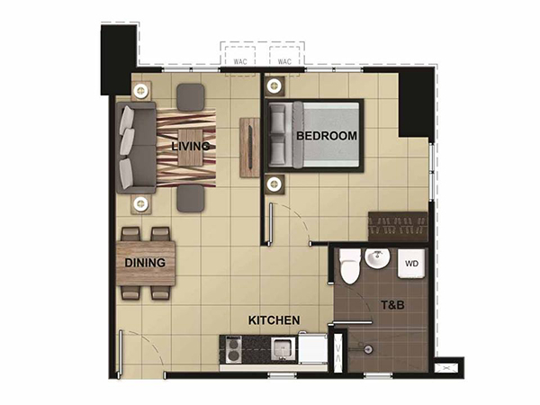 1-bedroom floor plan
