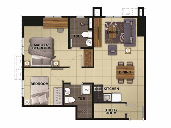 2-bedroom floor plan with 2 toilet and bath
