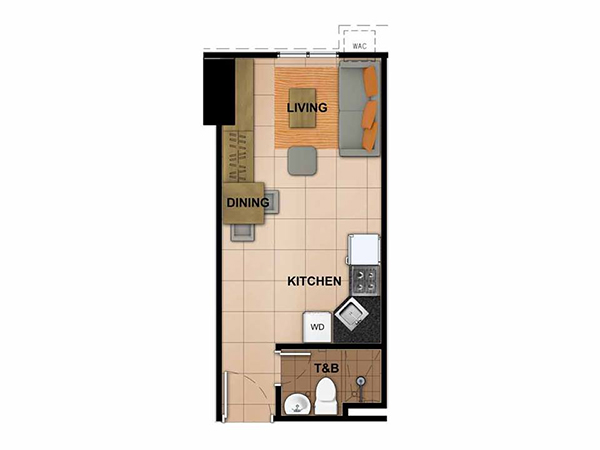 22 sqm studio floor plan