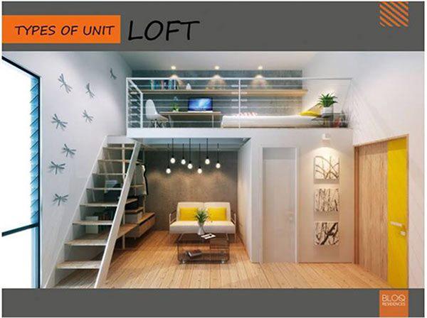 residential loft type condominium unit floor lay out