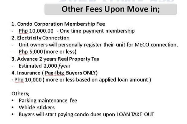list of other fees upon move-in