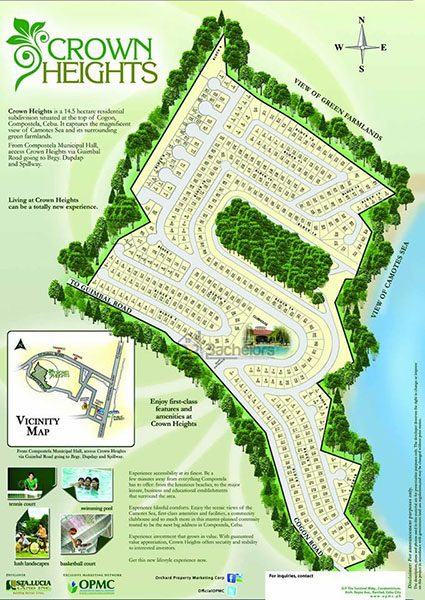 subdivision map of the lot for sale in compostela