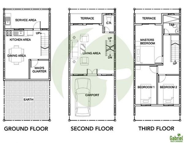 3 storey townhouse floor plan