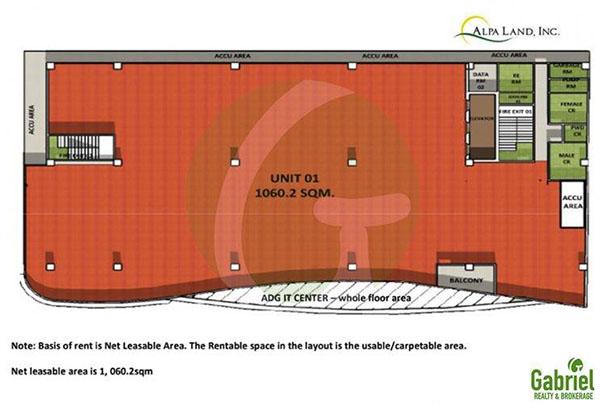 floor of the office for rent in ADG IT CENTER cebu
