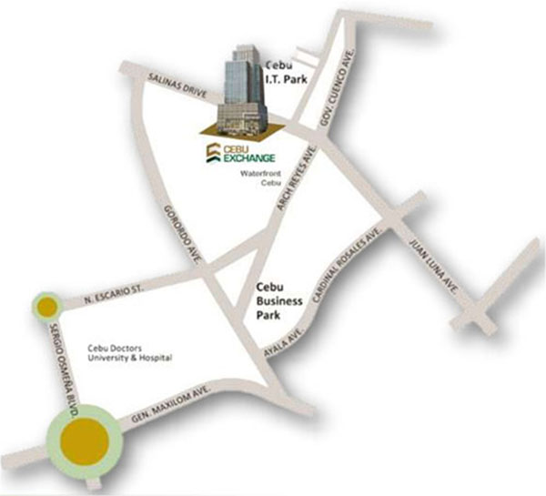 location is infront of cebu IT Park and beside waterfront hotel cebu