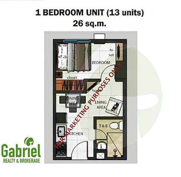 limited 1-bedroom condo units floor plan