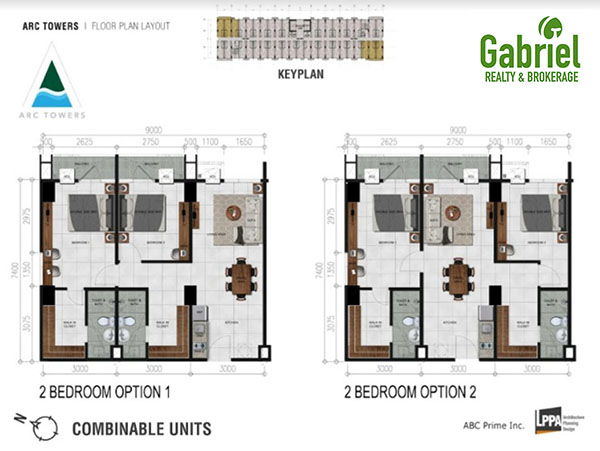 2-bedroom combinable units options