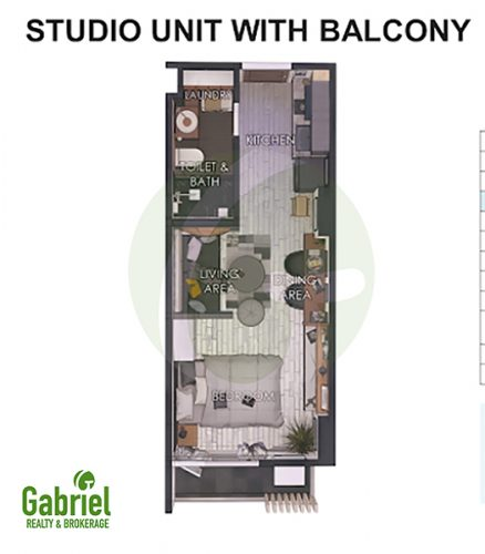 studio with balcony floor plan