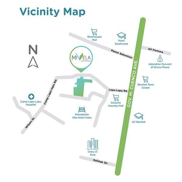 vicinity map of mivela garden residences in banilad, cebu city