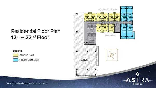 typical residential floor plan in the 12th to 22nd floor