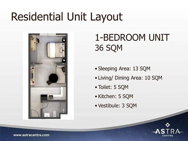 36 sqm residential 1 bedroom unit lay out